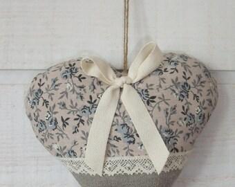 Heart door pillow (No.21) linen & liberty blue
