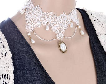 White Gothic Choker with pearls and lace and Medallion