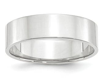 New 10K Solid White Gold 6mm Flat Men's and Women's Wedding Band Ring Sizes 4-14 High Polished Stackable Thumb/ Knuckle Rings