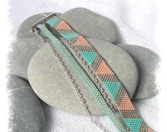 cuff silver bracelet, turquoise and peach