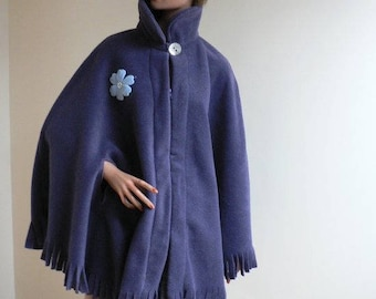 Cape material fleece poncho type Navy color