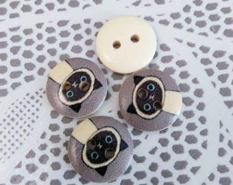 Set of 4 buttons wooden cats and a grey background