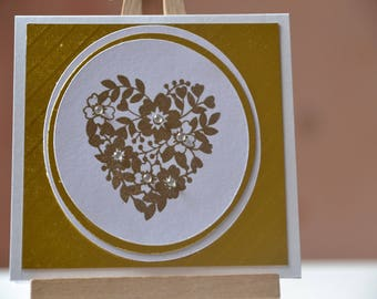 Card any Occasion, embossed floral heart Golden nesting circles