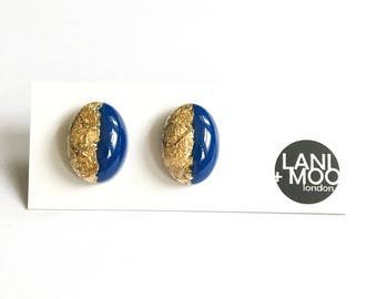 Oval Blue Resin Stud Metallic Gold Leaf Statement Earrings!