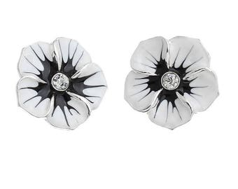 x 2 connectors metal spacer flower silver black and white enamel.