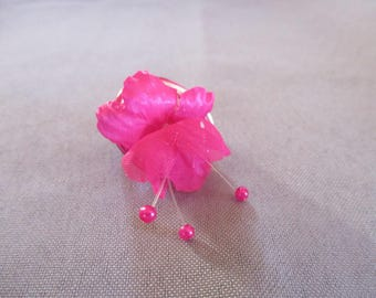 Pink and silver aluminium ring adjustable