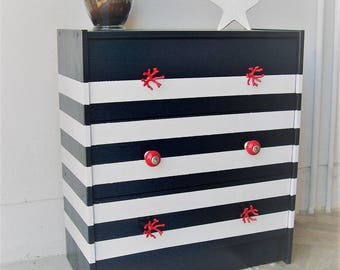 Blue sailor style Dresser Navy and white