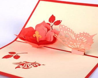 Handmade origami papercraft art 3D pop up popup red flower pink butterfly spring birthday Valentine's day mother's day greeting card for her