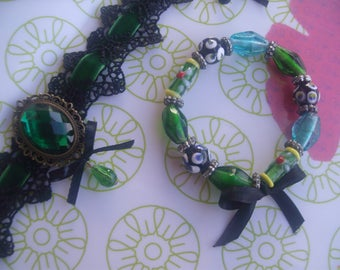 RETRO dress * lace, velvet, glass beads *.