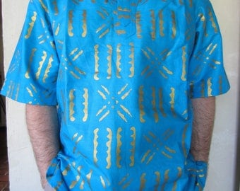 Turquoise blue and brilliant man tunic