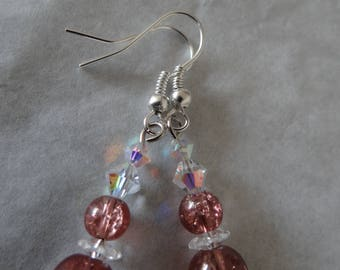 Pink earrings, amber and swarovski