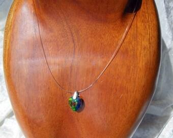 BIG HEART GREEN VITRAIL SWAROVSKI CRYSTAL INVISIBLE THREAD