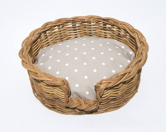Traditional Wicker dog Basket with comfy vintage style polka dot cushion in taupe.