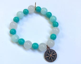 Gemstone Compass Stretch Charm Bracelet