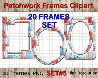 Patchwork Frames Clipart: Patchwork Clip Art, colorful digital clip art frames, Digital Clipart Frames, Scrapbook PNG