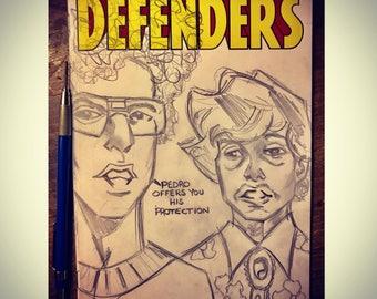 Defenders 1 Comic Original Napoleon Dynamite Sketch