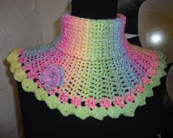 Choker, Rainbow wool snood crocheted