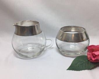 Creamer and Sugar Bowl Dorothy Thorpe Silver Rim