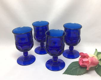 Tiny King's Crown Cordial Glasses by Tiffin Cobalt Blue - set of 4