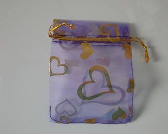 5 purple organza bags