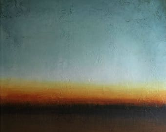 """Early Dawn II, Acrylic on Paper, 34"""" x 34"""", Modern art for home or office"""