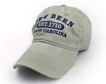 New Bern Embroidered Hat, Khaki