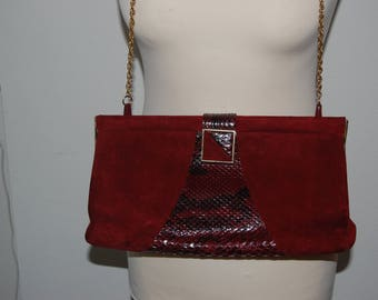 burgundy suede vintge purse