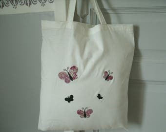 tote bag with applied pink liberty Butterfly Lecien fusible