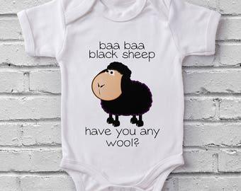 Baa Baa Black Sheep Nursery Rhyme Fairytale baby grow bodysuit onesie baby shower gift