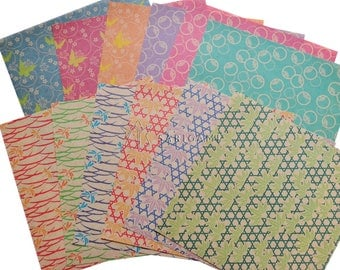 Origami paper with Japanese patterns on kraft background