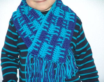 Blue and turquoise crochet scarf handmade