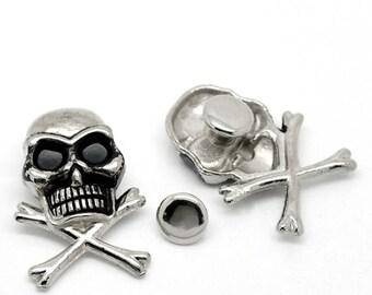 Rivet tête de mort en métal argenté vieilli (x1)