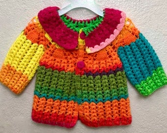 Baby girl outfit - Crocheted Jacket for baby girl