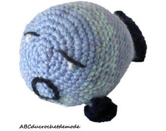 Cadfan, blue fish, amigurumi, plushie, crochet toy.