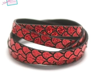 "1 m strap leather 10 x 2 mm, red ""large scale"" effect"
