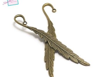 "2 large bookmark ""Feather 115 x 10 mm"", bronze"