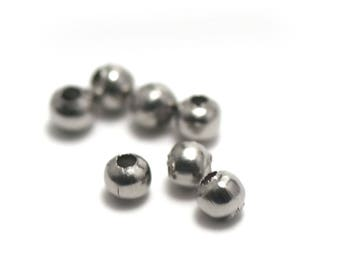 "10 pearls in stainless steel ""4 mm round"", stainless steel"