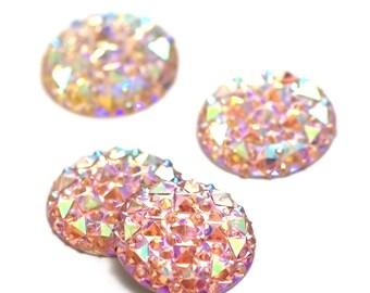 Pink 4 cabochon embellishment craft 24 mm, round, pyramid pattern