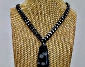 snowflake onyx necklace on black chain
