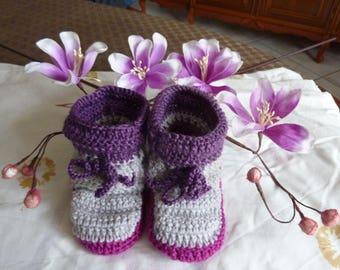 slippers children 18 months-2 years crocheted hands