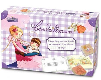 Box: fairy tale Cinderella to illustrate with stamps and colored pencils included / child's creative Kit DIY stamp coloring