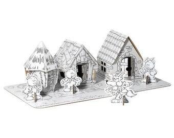 Les 3 petits cochons et leurs maisons à assembler et à colorier avec 12 feutres inclus / Kit créatif DIY coloriage