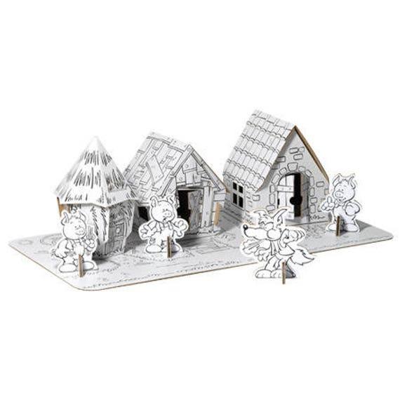 les 3 petits cochons et leurs maisons assembler et. Black Bedroom Furniture Sets. Home Design Ideas