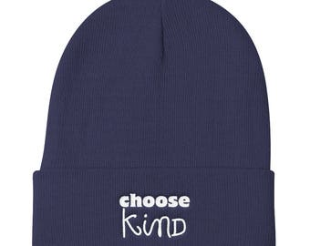 Choose Kind Wonder Knit Beanie hat RJ Palacio anti bullying kindness positive message, acceptance, perseverance, school wonder movie