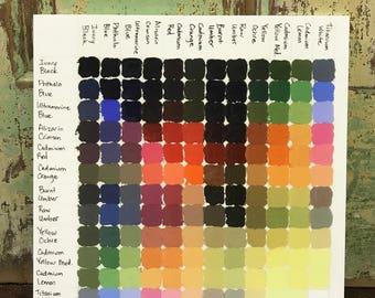 Color Chart, Oil Paint, Limited Pallet, Paint Colors