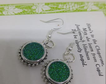 Emerald - handmade silver round green glittering resin earrings