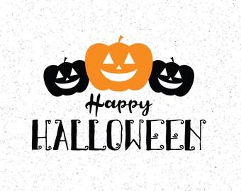 Happy Halloween SVG, Pumpkin Clipart, Pumpkins, Halloween Clipart, Cricut Cut File, Silhouette File, Cuttables, Halloween Cuttables
