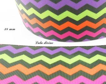 38 mm multicolor Chevron black grosgrain Ribbon sold by 50 cm