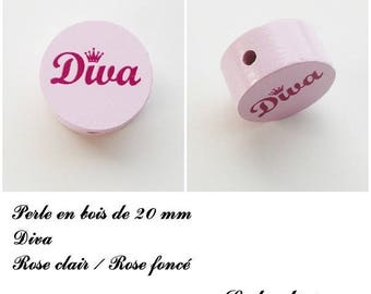 Wooden bead of 20 mm, flat bead, Diva: light pink
