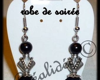 Earrings black and silver party dress